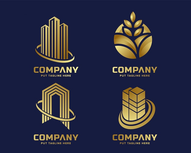 Plantilla de logotipo dorado de negocios modernos