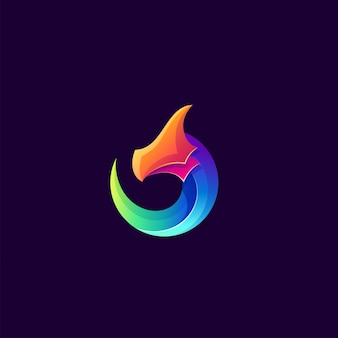 Plantilla de logotipo de dragón colorido