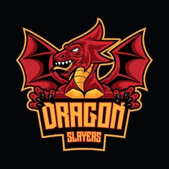 Plantilla de logotipo de dragon slayer esport