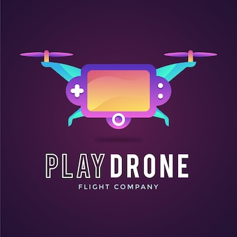 Plantilla de logotipo de drone degradado creativo