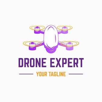 Plantilla de logotipo de drone degradado