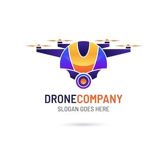 Plantilla de logotipo de drone degradado vector gratuito