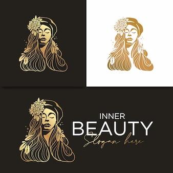 Plantilla de logotipo e icono de belleza femenina