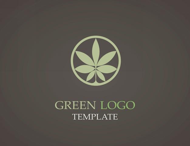 Plantilla de logotipo ecológico de hoja verde.