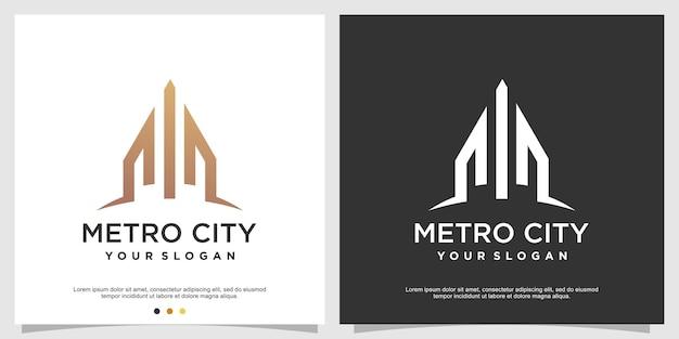 Plantilla de logotipo de edificio con concepto moderno vector premium
