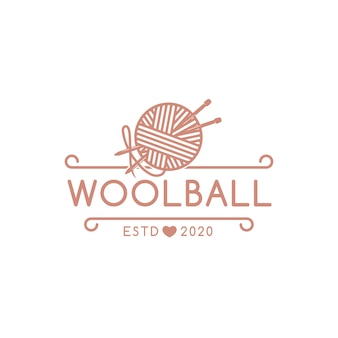 Plantilla de logotipo de emblema de bola de lana