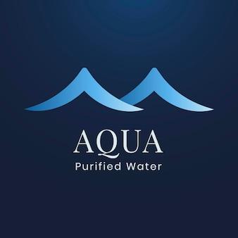 Plantilla de logotipo de empresa acuática, empresa de agua, vector de diseño plano azul creativo