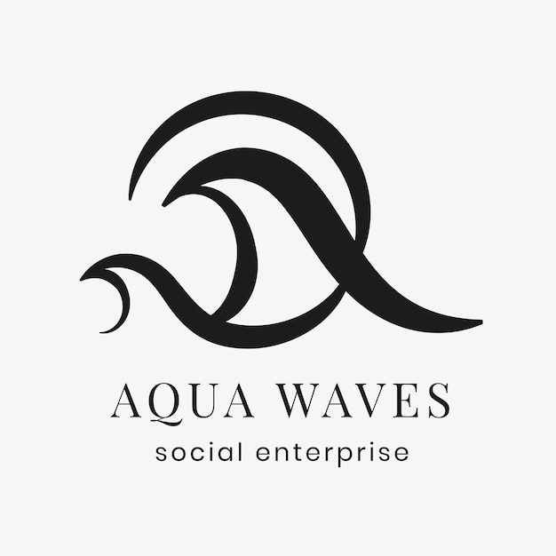 Plantilla de logotipo de empresa aqua, vector de diseño plano negro creativo profesional
