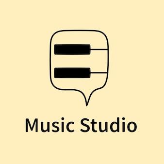 Plantilla de logotipo de empresa audiovisual, vector de diseño de marca, texto de estudio de música