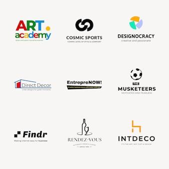 Plantilla de logotipo de empresa diseño de marca geométrica conjunto de vectores