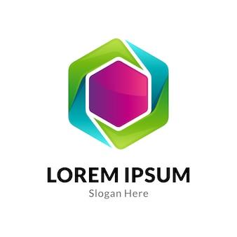 Plantilla de logotipo de empresa hexagonal