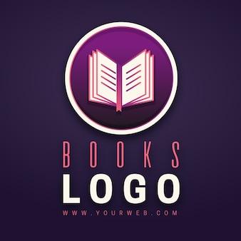 Plantilla de logotipo de empresa de libro degradado