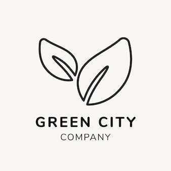 Plantilla de logotipo de empresa verde, vector de diseño de marca, texto de ciudad verde
