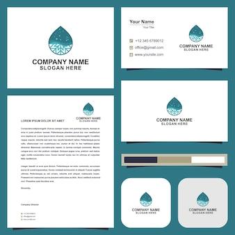 Plantilla de logotipo de energía de agua y tarjeta de visita