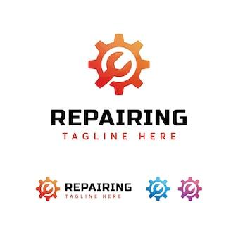 Plantilla de logotipo de engranajes de reparación