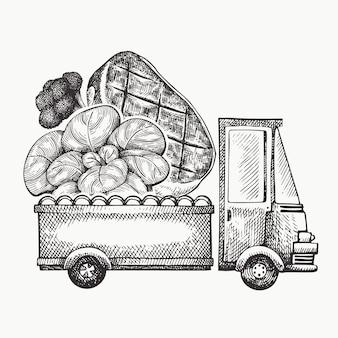 Plantilla de logotipo de entrega de tienda de alimentos. dibujado a mano camión con verduras y carne ilustración. diseño de comida retro estilo grabado.