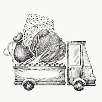 Plantilla de logotipo de entrega de tienda de alimentos. dibujado a mano camión con verduras y queso ilustración. diseño de comida retro estilo grabado.