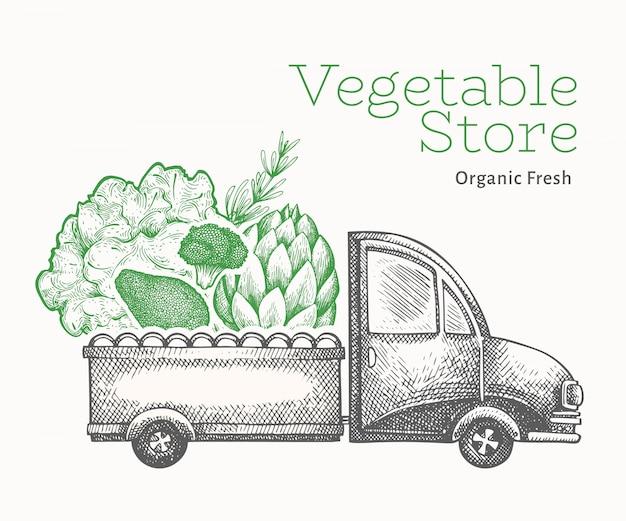 Plantilla de logotipo de entrega de tienda de verduras verdes. diseño de comida retro estilo grabado.