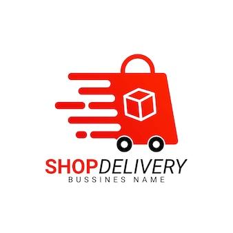 Plantilla de logotipo de entrega de tienda