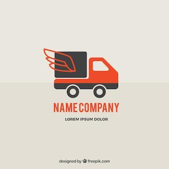 Plantilla de logotipo de envíos con camión