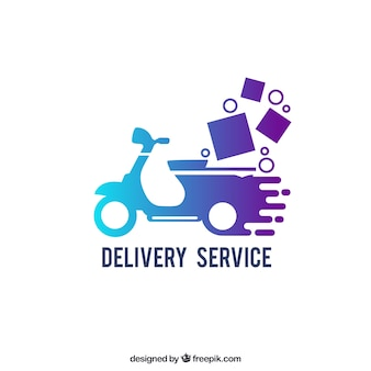 Plantilla de logotipo de envíos con efecto gradiente