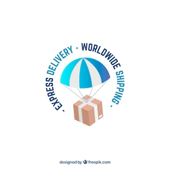 Plantilla de logotipo de envíos con paracaídas