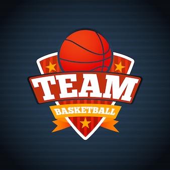 Plantilla de logotipo del equipo de baloncesto, con estrellas de bolas y cintas.