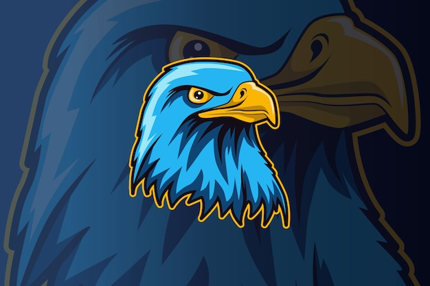 Plantilla de logotipo de equipo de deportes electrónicos de cabeza de águila