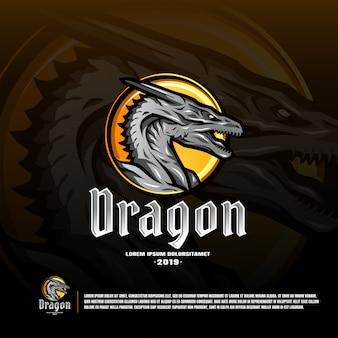 Plantilla de logotipo del equipo deportivo del dragón