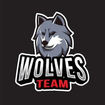 Plantilla de logotipo del equipo de lobos