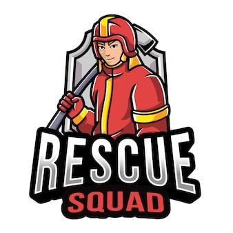 Plantilla de logotipo de escuadrón de rescate