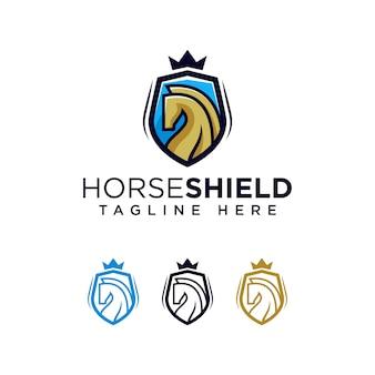 Plantilla de logotipo de escudo de caballo icono de ilustración