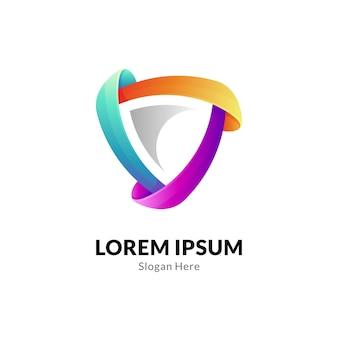 Plantilla de logotipo de escudo colorido