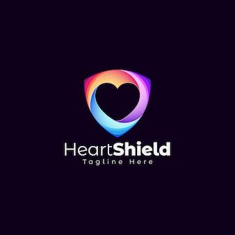 Plantilla de logotipo de escudo de corazón