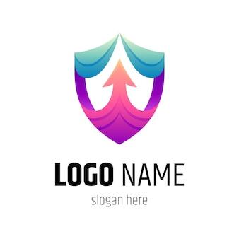 Plantilla de logotipo de escudo y flecha