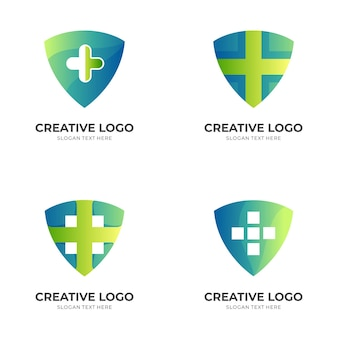 Plantilla de logotipo de escudo médico