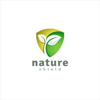 Plantilla de logotipo de escudo natural