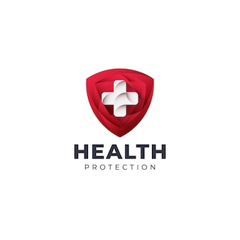 Plantilla de logotipo de escudo de salud