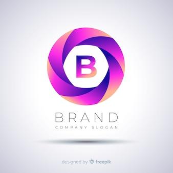 Plantilla de logotipo esférico abstracto degradado