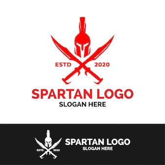 Plantilla de logotipo de espada espartana