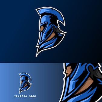 Plantilla de logotipo espartan warior mascota deporte esport azul con máscara