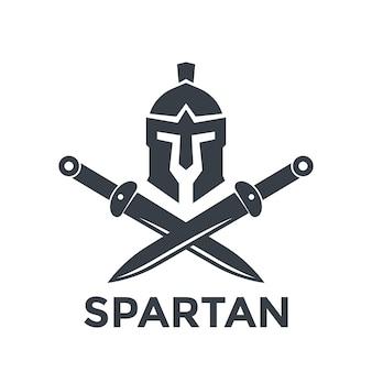 Plantilla de logotipo espartano con casco y espadas.