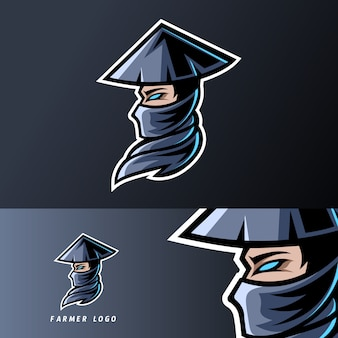 Plantilla de logotipo de esport de deporte de mascota de granjero viejo con gorra, barba, sombrero