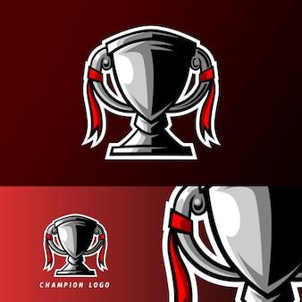 Plantilla de logotipo de esport trofeo de campeón de oro y plata para deportes