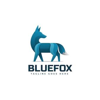 Plantilla de logotipo de estilo colorido degradado de zorro azul