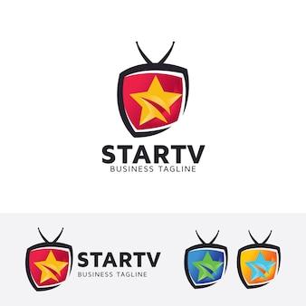 Plantilla de logotipo de estrella de vector de televisión