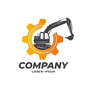 Plantilla de logotipo de excavadora y construcción con engranaje