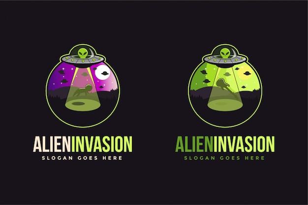Plantilla de logotipo extraterrestre ovni