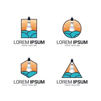 Plantilla de logotipo de faro con ola oceánica