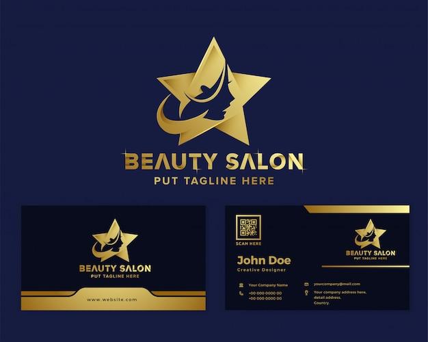 Plantilla de logotipo femenino de belleza de lujo premium